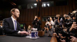 Facebook CEO Mark Zuckerberg speaking before Congress